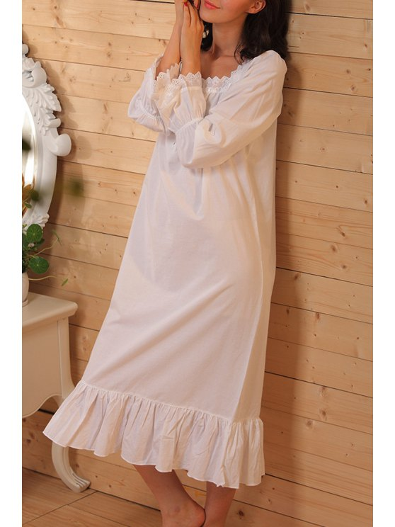 best White Lace Splicing Long Sleeve Babydoll - WHITE XXS