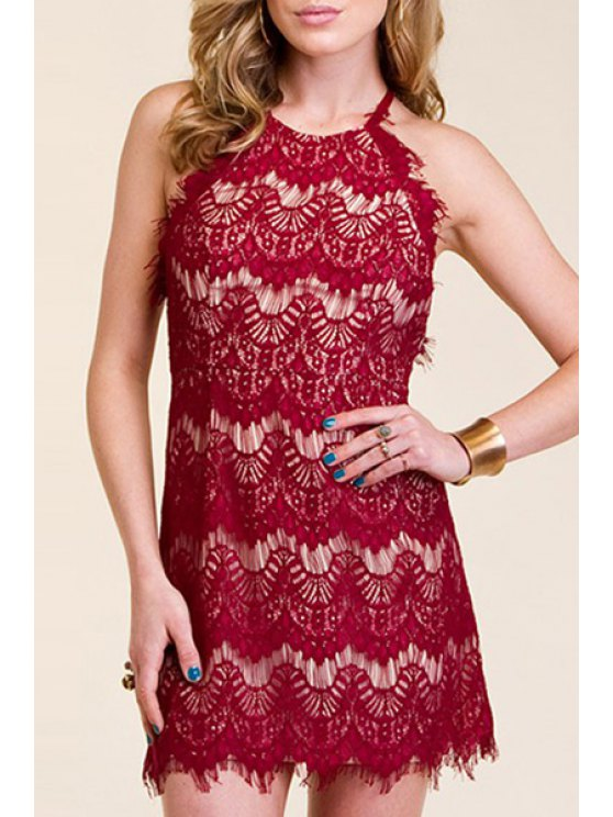 outfits Openwork Lace Hook Crisscross Back Dress - WINE RED S