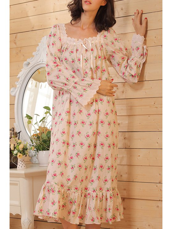 fashion Square Neck Tiny Floral Print Long Sleeve Babydoll - COLORMIX S