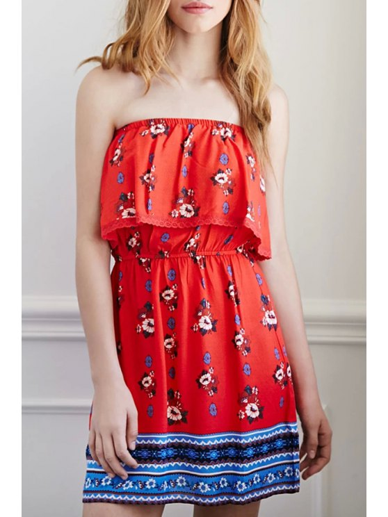 latest Strapless Flouncing Floral Print Dress - RED S