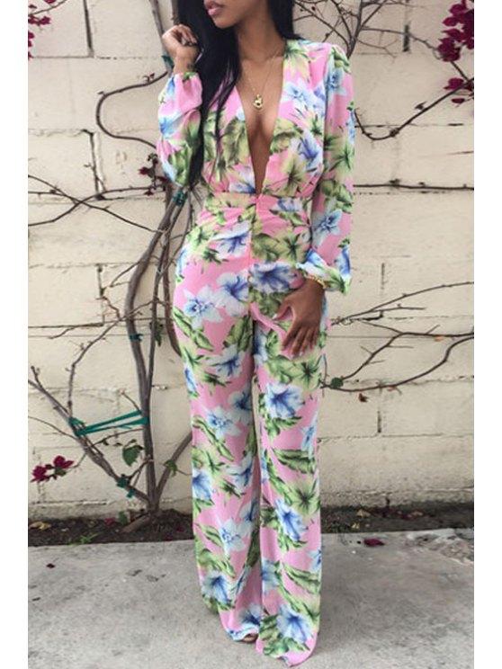 ladies Floral Plunging Neck Long Sleeve Jumpsuit - PINK S