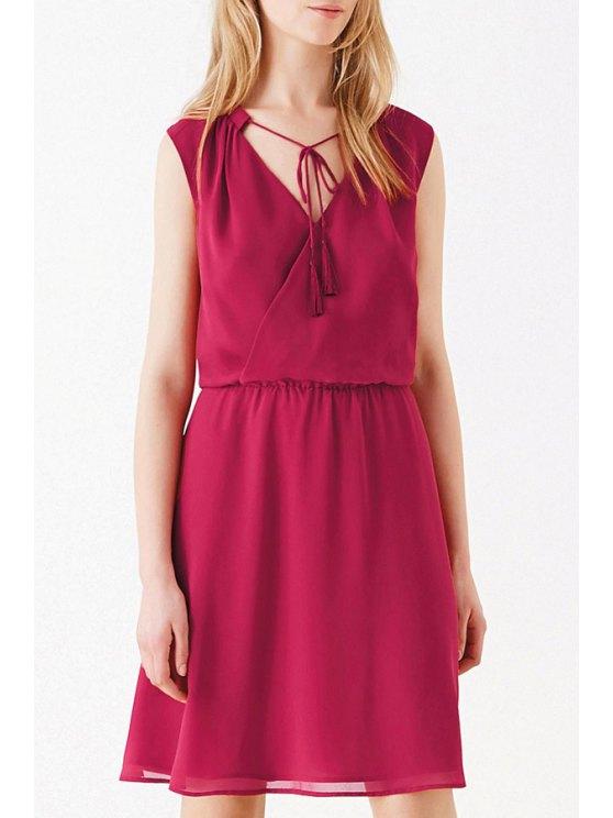 sale Cross-Over Collar Elastic Waist Dress - RED S