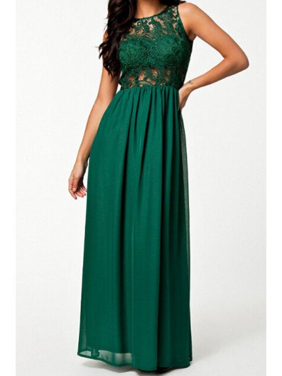 new Openwork Lace Hook Spliced Chiffon Dress - GREEN S