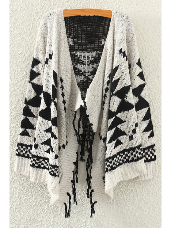 women Asymmetrical Geometric Pattern Long Sleeve Cardigan - OFF-WHITE ONE SIZE(FIT SIZE XS TO M)
