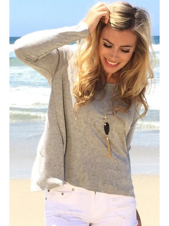 womens Gray Scoop Neck Long Sleeves T-Shirt - GRAY S