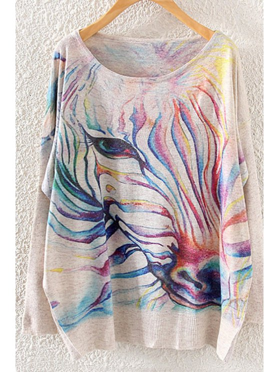 lady Colorful Horse Print Long Sleeve Sweater - OFF-WHITE ONE SIZE(FIT SIZE XS TO M)