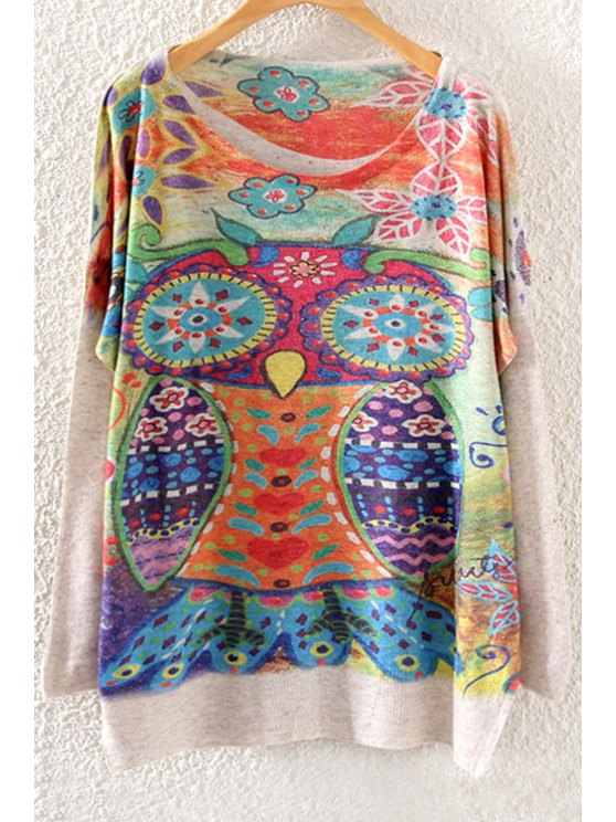 trendy Colorful Owl Print Long Sleeve Sweater - OFF-WHITE ONE SIZE(FIT SIZE XS TO M)