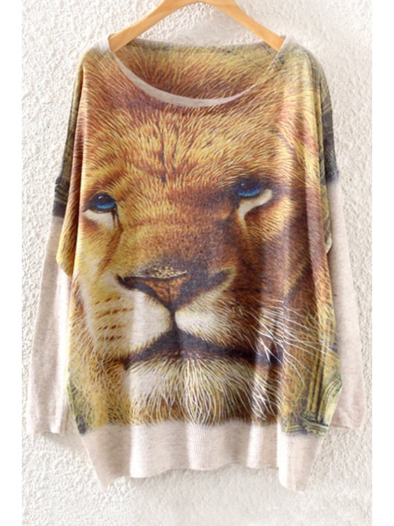 chic Scoop Neck Lion Print Long Sleeve Sweater - OFF-WHITE ONE SIZE(FIT SIZE XS TO M)