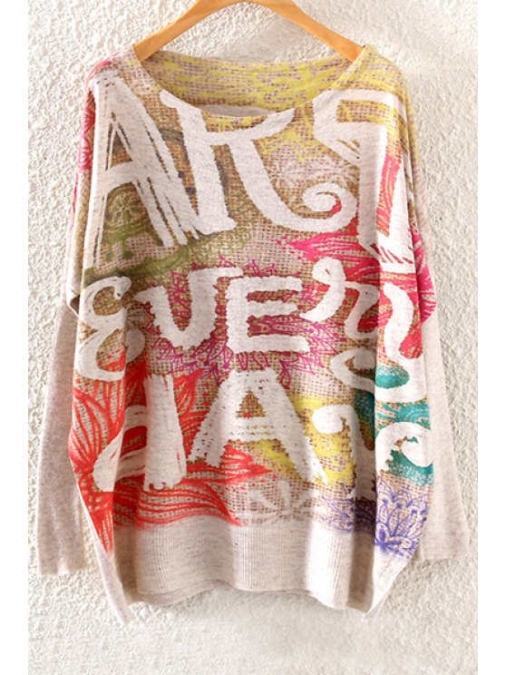 fancy Colorful Letter Print Long Sleeve Sweater - OFF-WHITE ONE SIZE(FIT SIZE XS TO M)