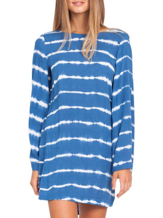 fashion Striped Cut Out Long Sleeve Dress - AZURE XS