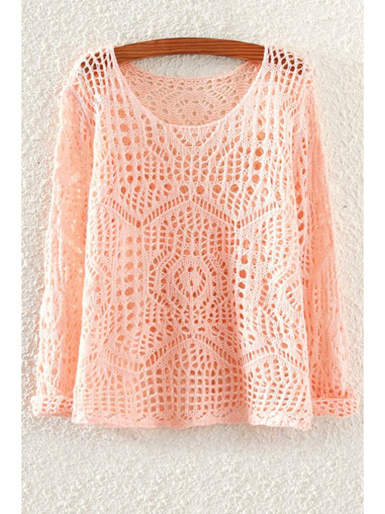 womens Scoop Neck Solid Color Openwork Sweater - PINK ONE SIZE(FIT SIZE XS TO M)