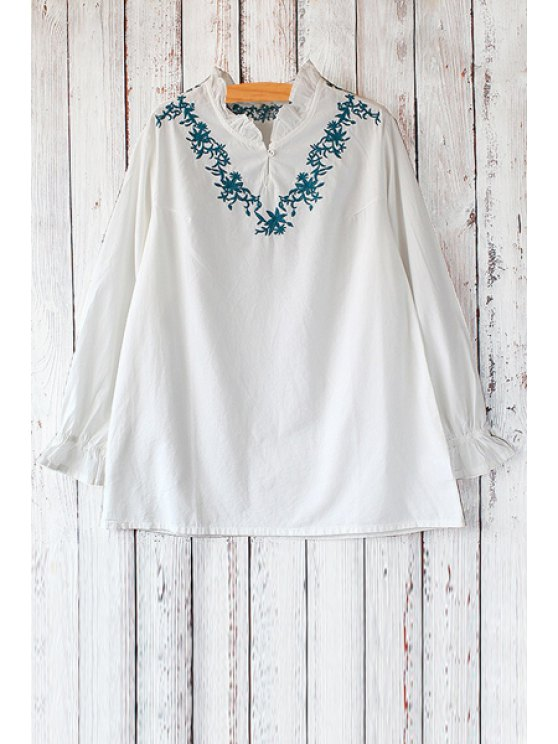 hot Ruff Collar Long Sleeve Embroidered Blouse - WHITE ONE SIZE(FIT SIZE XS TO M)