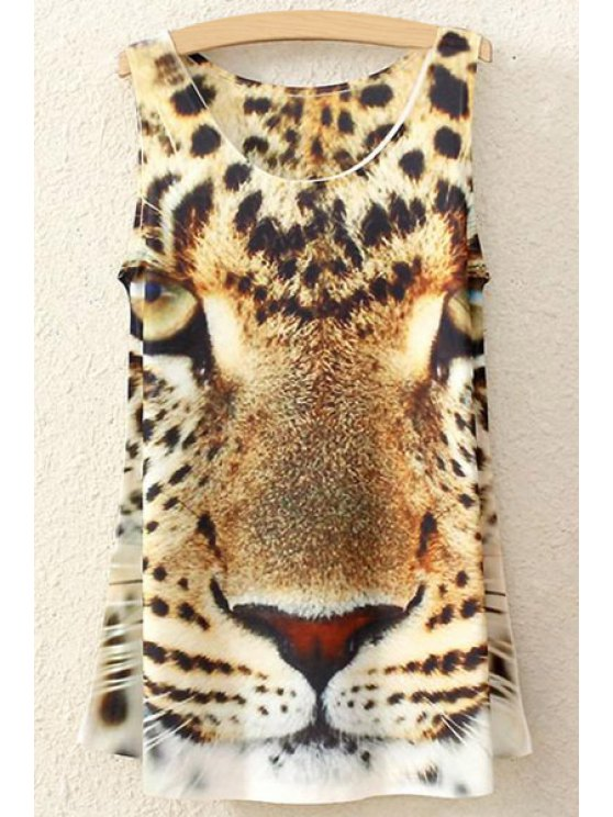 shops Leopard Print Sleeveless Tank Top - WHITE ONE SIZE(FIT SIZE XS TO M)