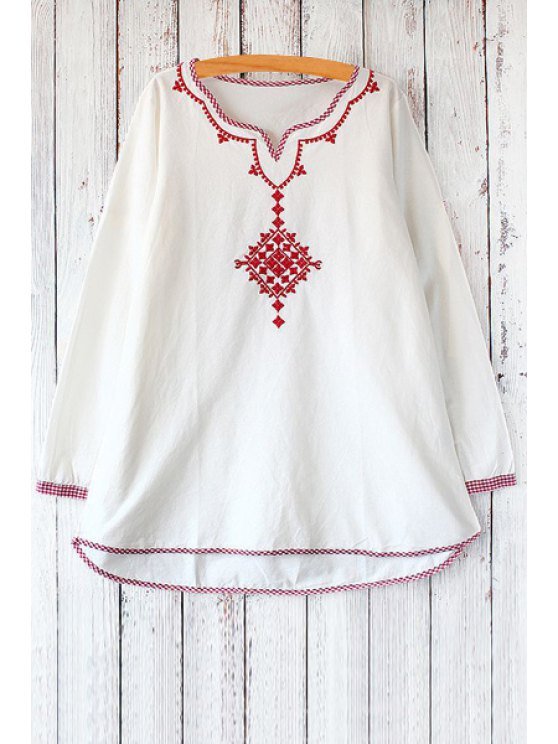 best Long Sleeve Embroidered Flare Dress - RED ONE SIZE(FIT SIZE XS TO M)