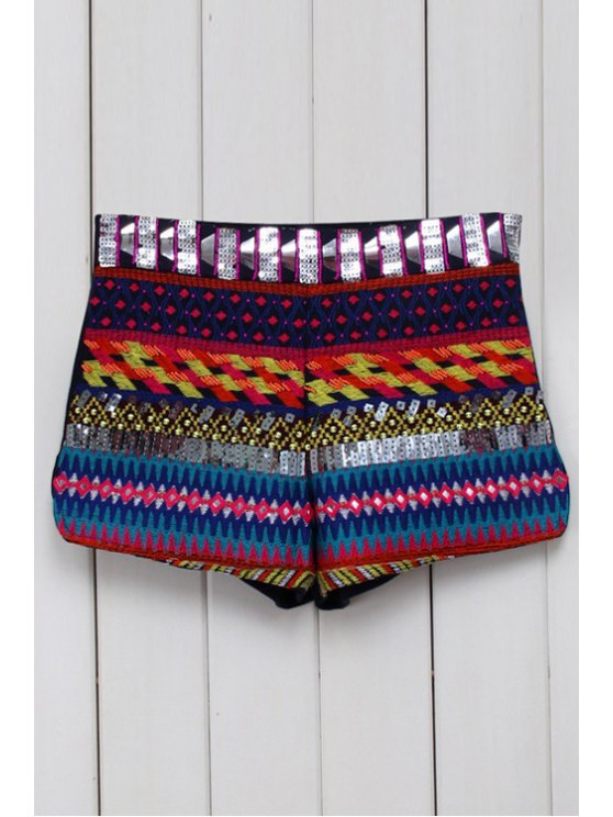 shop Ethnic Pattern Straight Leg Shorts - BLACK S