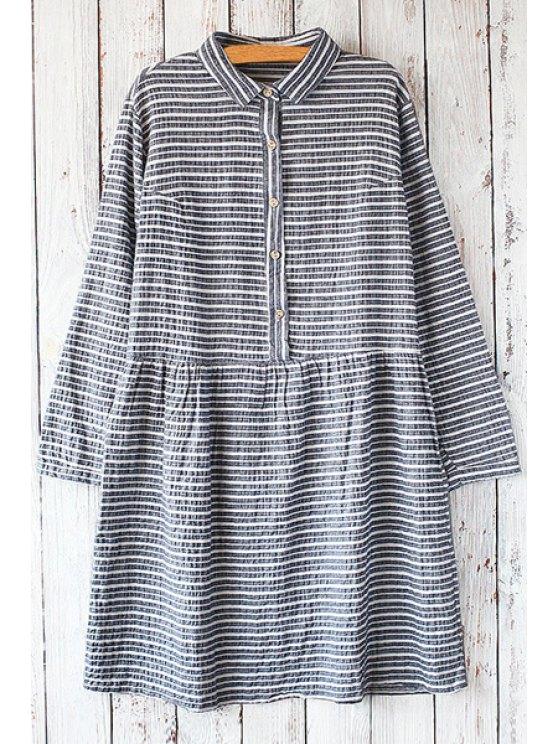 shop Shirt Collar Long Sleeve Striped Dress - PURPLISH BLUE ONE SIZE(FIT SIZE XS TO M)