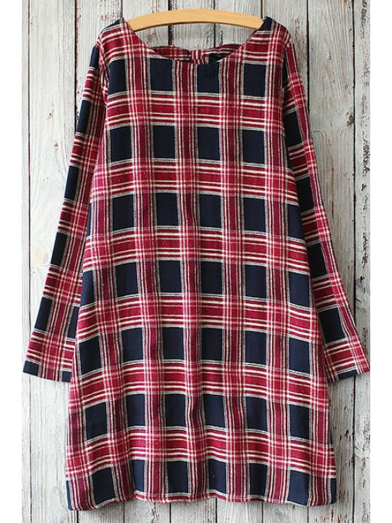 online Long Sleeve Plaid Bowknot Straight Dress - BLUE AND RED ONE SIZE(FIT SIZE XS TO M)