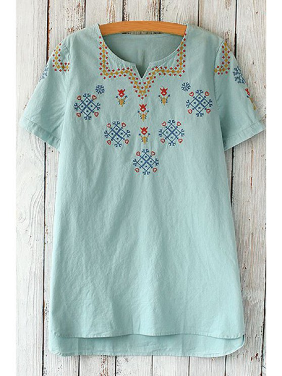 unique Short Sleeve Embroidered Loose T-Shirt - LIGHT BLUE ONE SIZE(FIT SIZE XS TO M)