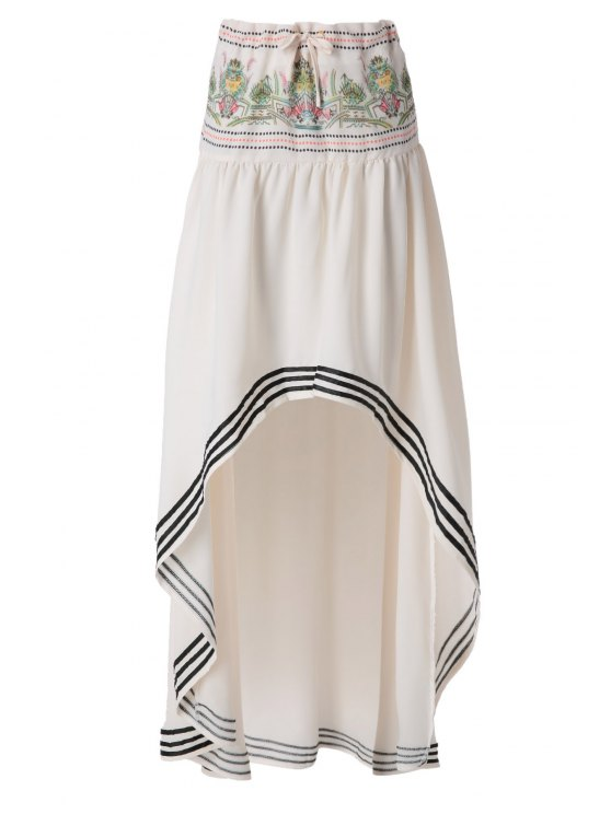 affordable Ethnic Pattern High Low Skirt - OFF-WHITE S
