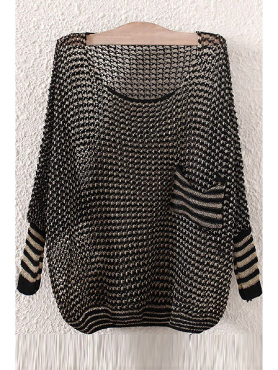 fashion Pocket Openwork Long Sleeve Sweater - BLACK ONE SIZE(FIT SIZE XS TO M)