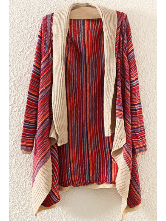 chic Shawl Collar Colorful Stripe Long Sleeve Cardigan - RED ONE SIZE(FIT SIZE XS TO M)