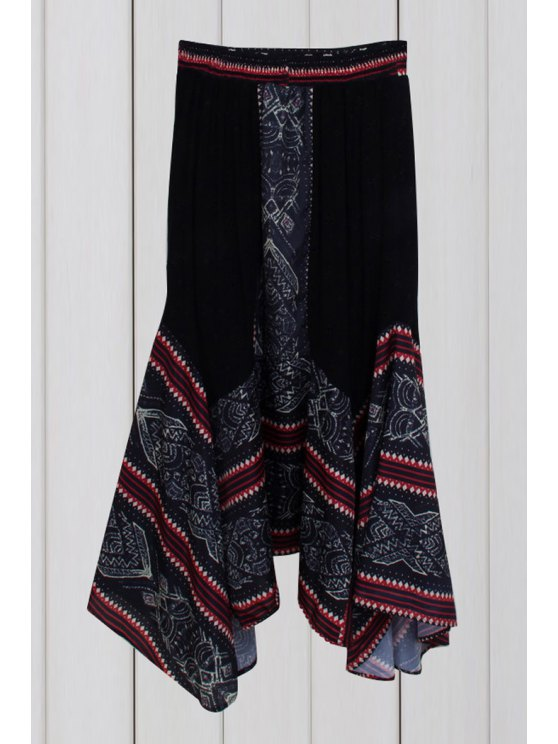 chic Ethnic Print Irregular Hem Skirt - PURPLISH BLUE ONE SIZE(FIT SIZE XS TO M)