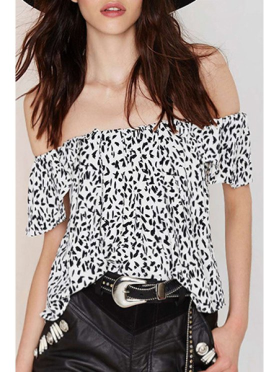ladies Off-The-Shoulder Leopard Print Blouse - WHITE AND BLACK S