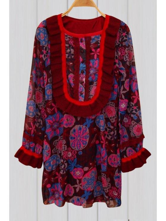 new Flower Print Scoop Neck Long Sleeve Dress - RED L