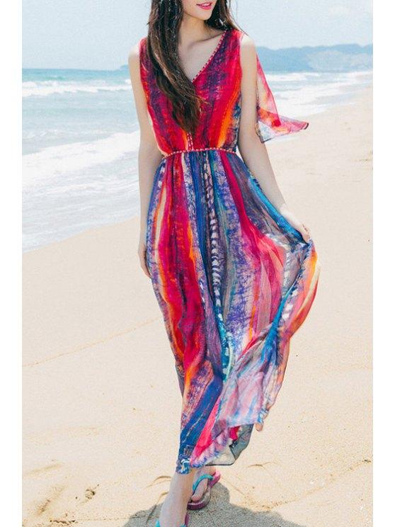sale Print V Neck Sleeveless Chiffon Maxi Dress - RED S