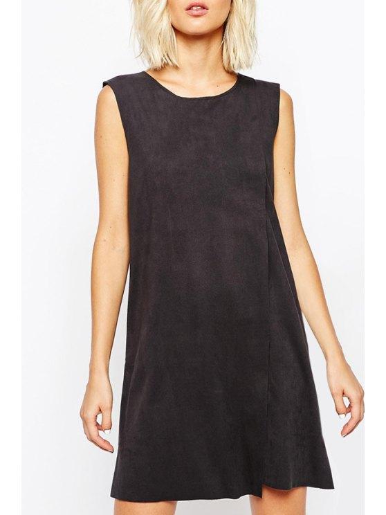best Suedette Wrap Shift Dress - BLACK S