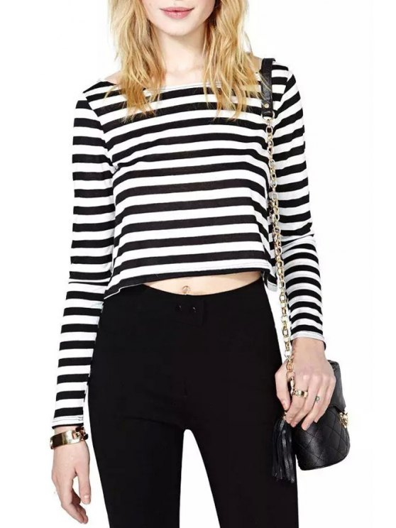 hot Stripes Scoop Collar Long Sleeve Crop Top - WHITE AND BLACK M