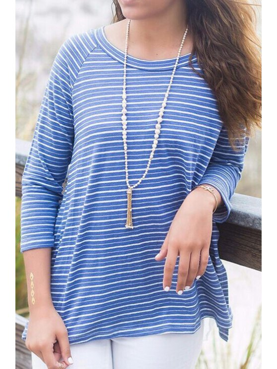 shop Blue Striped 3/4 Sleeve T-Shirt - BLUE S