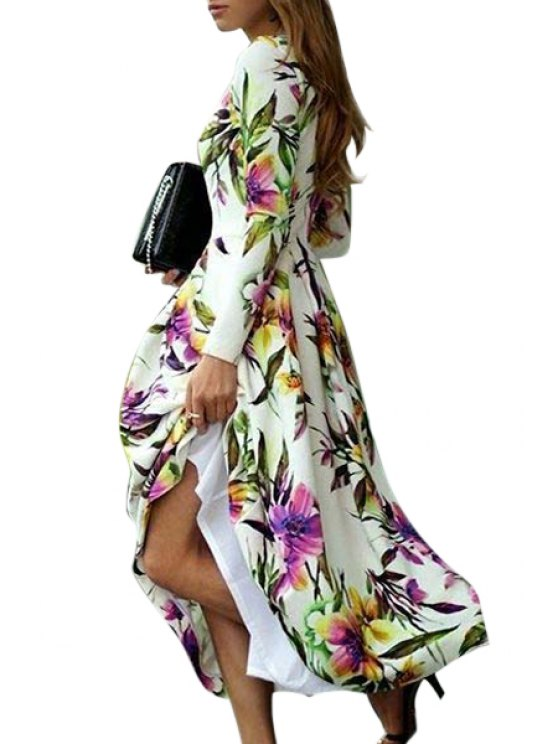 lady Floral Print Long Sleeve Maxi Dress - WHITE S