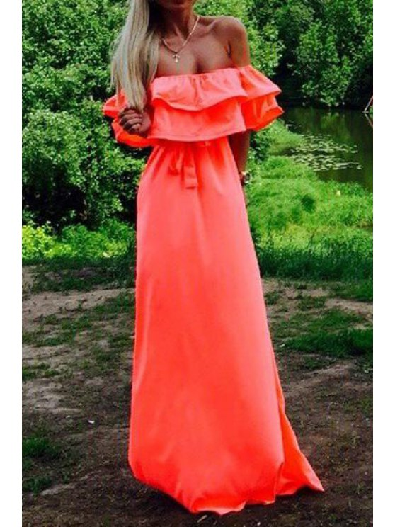 best Off-The-Shoulder Flouncing Maxi Dress - RED M