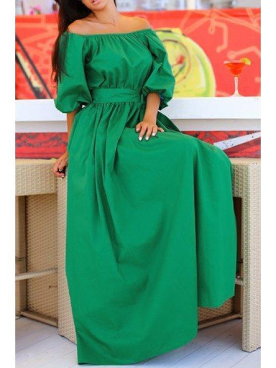 fashion Slash Neck Green Half Sleeve Dress - GREEN S