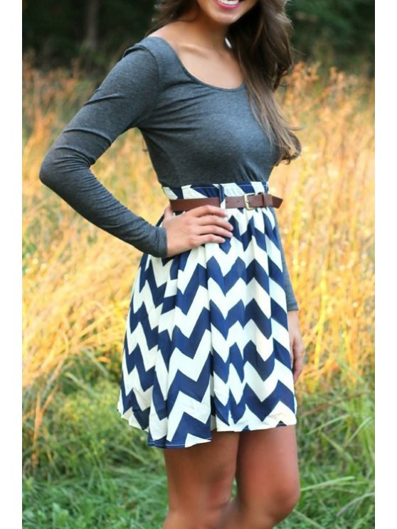 sale Zig Zag Spliced Long Sleeve Dress - AS THE PICTURE S