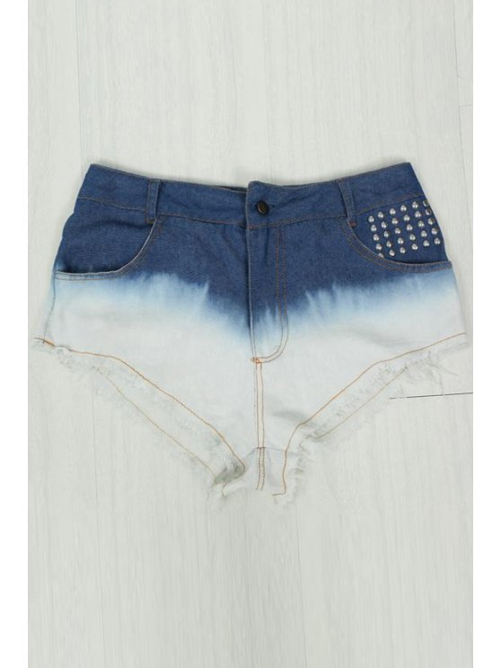 shops Color Block Rivet Frayed Denim Shorts - WHITE S