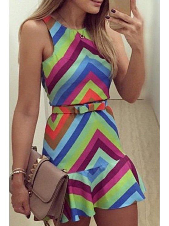 trendy Colorful Zig Zag Sleeveless Dress - BLUE S