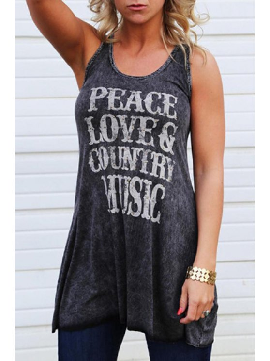 women Scoop Neck Letter Print Sleeveless Tank Top - GRAY M