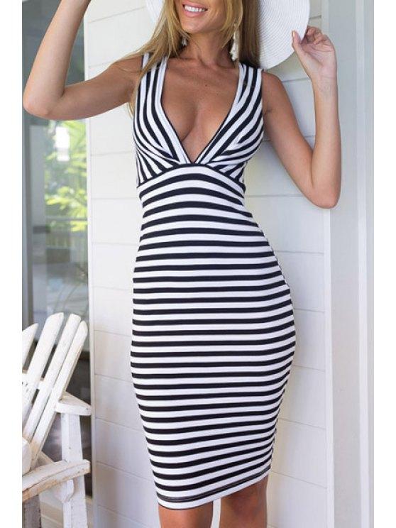 fashion Striped Plunging Neckline Sleeveless Dress - WHITE AND BLACK S