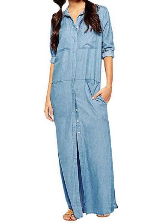 hot Long Sleeve Blue Maxi Slit Dress - BLUE S