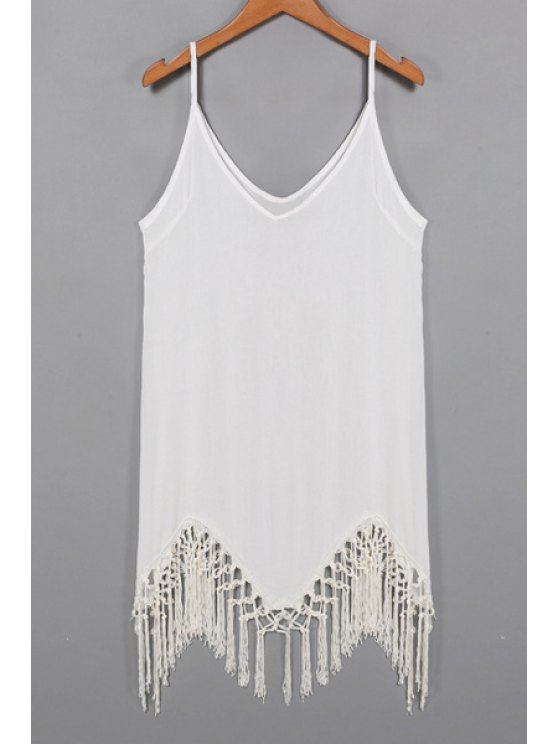 womens Solid Color Cami Tassels Dress - WHITE S