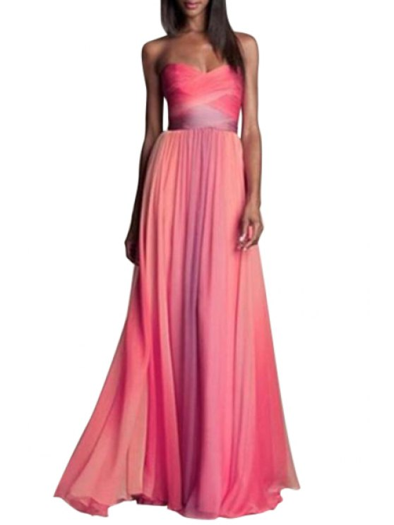 online Strapless Ombre Color Chiffon Maxi Dress - RED S