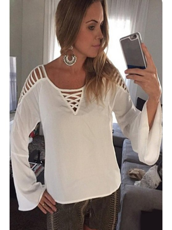 outfits White Openwork Long Sleeve T-Shirt - WHITE S