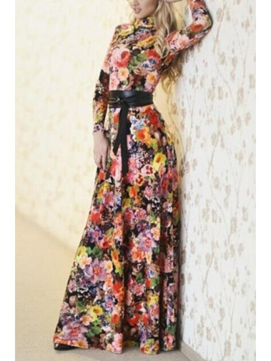 outfits Round Neck Colorful Floral Print Long Sleeve Dress - BLACK S