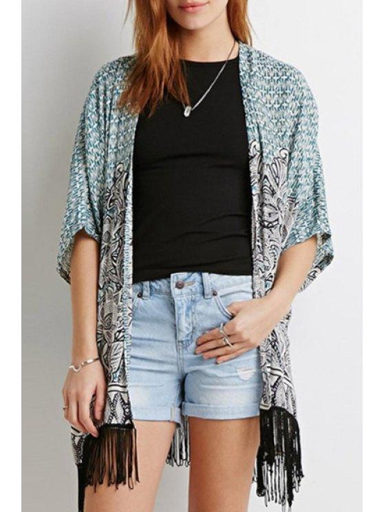 shop Black Fringe Splicing Printed Half Sleeve Kimono - BLUE S