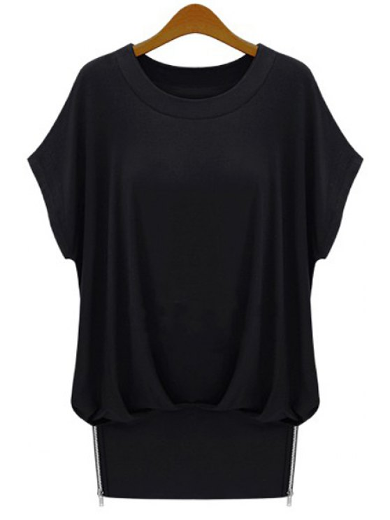 unique Jewel Neck Solid Color Ruffle Short Sleeve T-Shirt - BLACK S