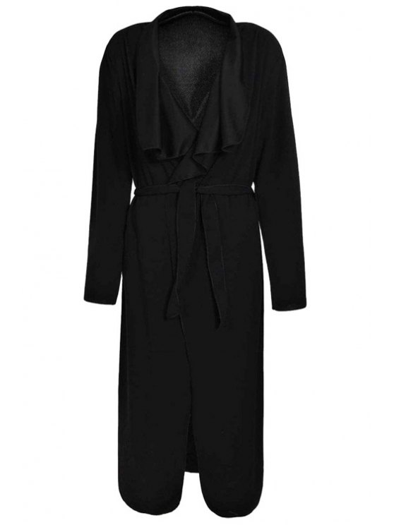 shop Turn-Down Collar Solid Color Asymmetrical Trench Coat - BLACK XL