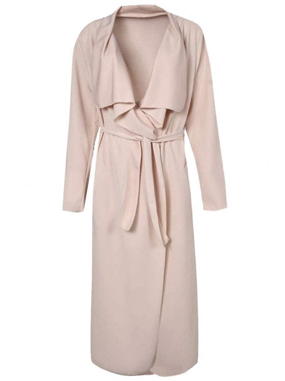 chic Turn-Down Collar Solid Color Asymmetrical Trench Coat - APRICOT 2XL