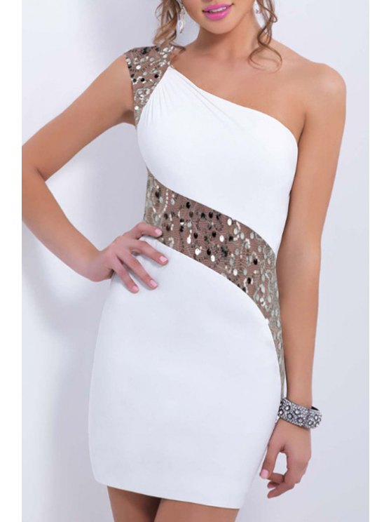 women's One Shoulder See-Through Sequins Splicing Dress - WHITE M